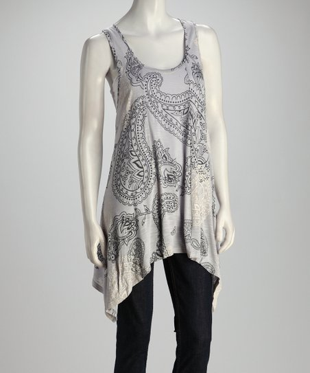 Gray Paisley Sidetail Top