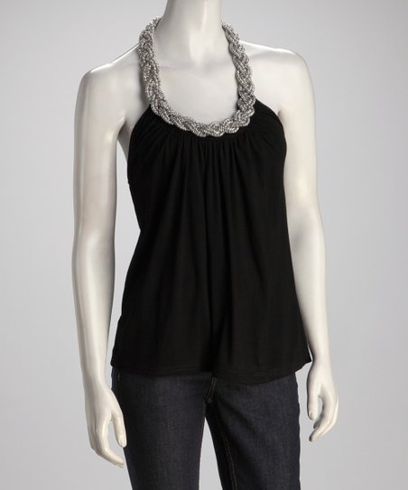 Black Braid Halter Top