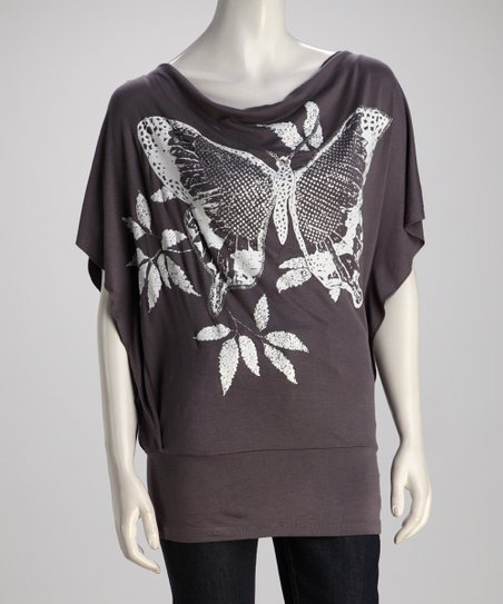 Gray Butterfly Cape-Sleeve Top