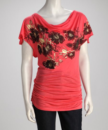 Coral Ruched Floral Top