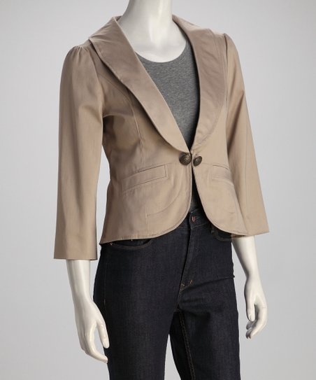 Beige Three-Quarter Sleeve Blazer