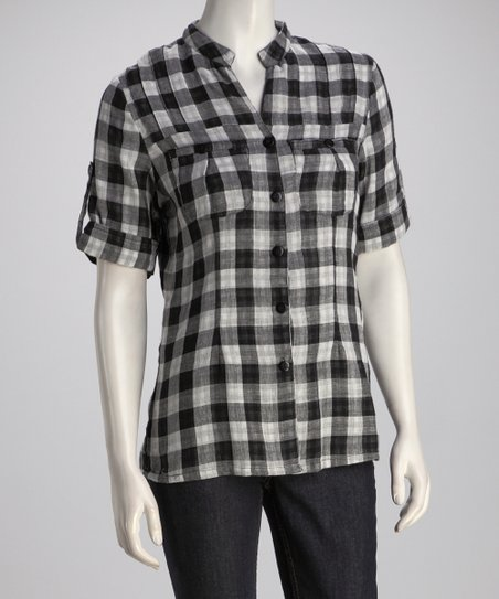 Black & White Plaid Button-Up