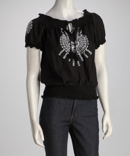 Black Shirred Peasant Top