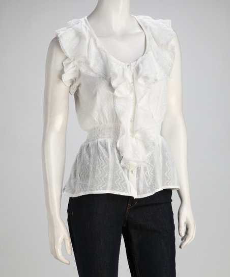 White Ruffle Smocked Sleeveless Top
