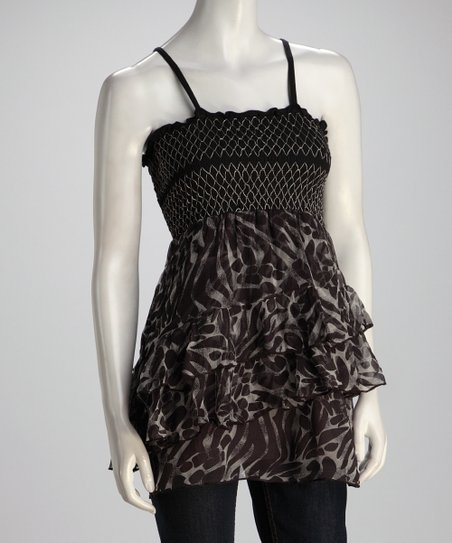 Black & Brown Tier Animal Top