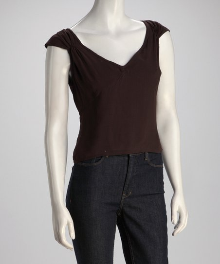 Brown Cap-Sleeve Top