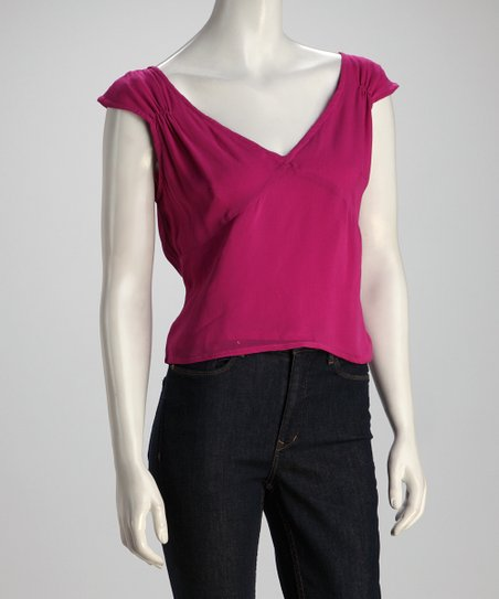 Fuchsia Cap-Sleeve Top