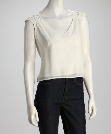 Ivory Cap-Sleeve Top