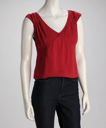 Red Cap-Sleeve Top