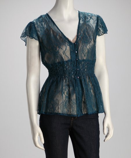 Blue Frill Lace Top