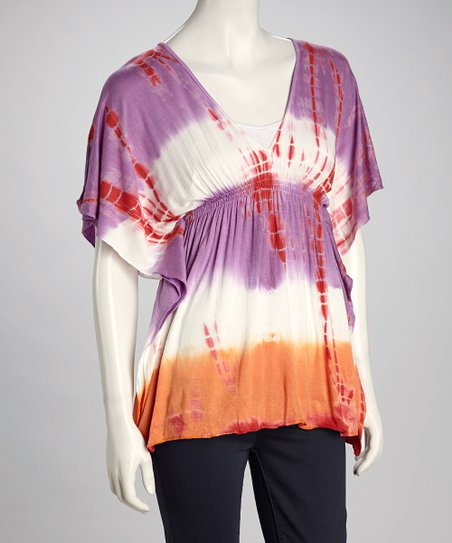 Purple & Orange Tie-Dye Top