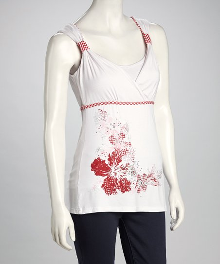 White & Red Floral Surplice Tank