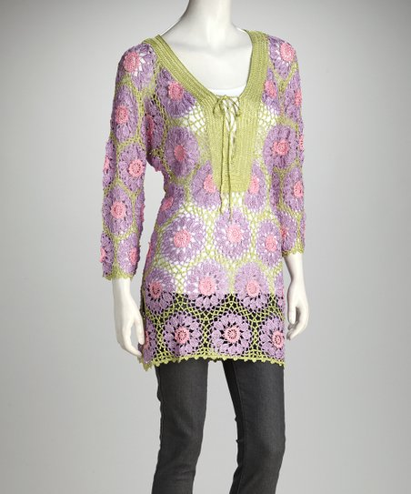 Green & Purple Floral Crocheted Tunic