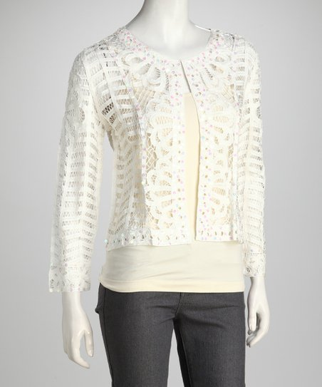 White Sequin Crocheted Cardigan
