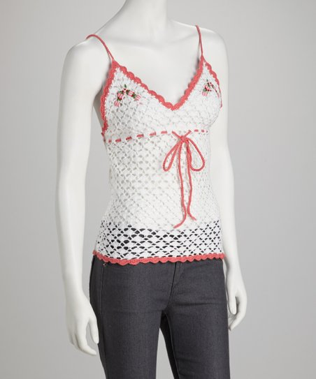 White & Coral Crocheted Tank