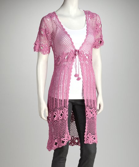 Magenta Crocheted Duster