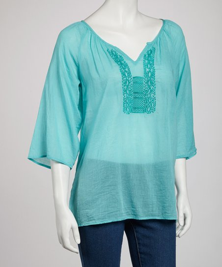Seafoam Sheer Embroidered Top