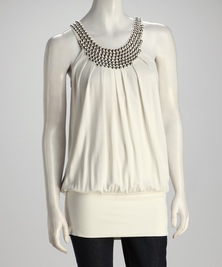 Ivory Stud Yoke Top