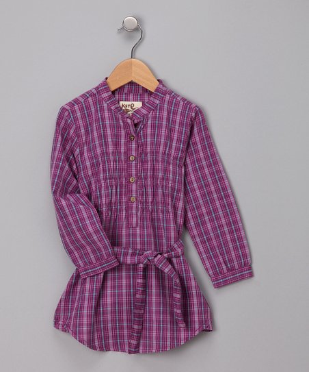 Plum Plaid Organic Shirtdress