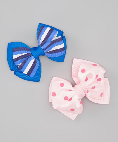 Pink & Blue Bow Clip Set