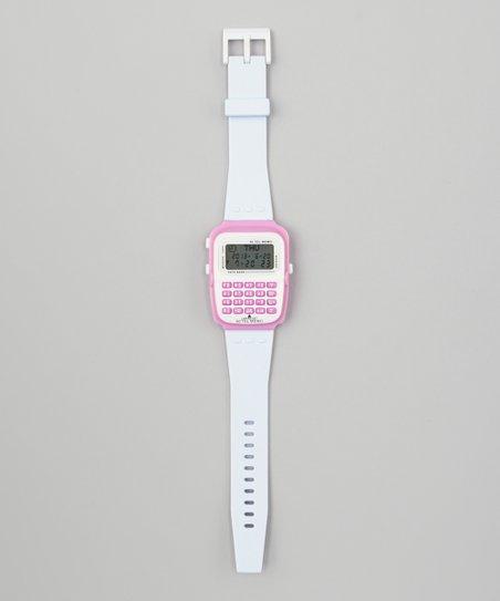 White Calculator Watch