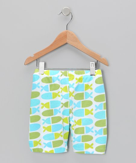 Blue Jellybean Fish Bike Shorts - Infant, Toddler & Girls