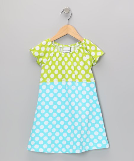 Aqua Punch Polka Dot Peasant Dress - Infant, Toddler & Girls