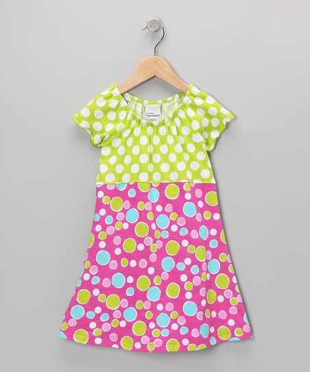Kiwi Punch Bubble Dot Peasant Dress - Infant, Toddler & Girls