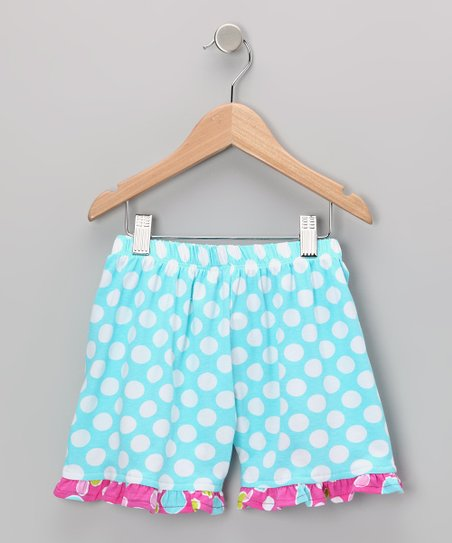 Aqua Punch Polka Dot Ruffle Shorts - Infant & Toddler