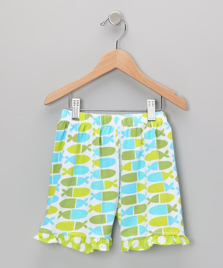 Blue Jellybean Fish Ruffle Shorts - Infant, Toddler & Girls