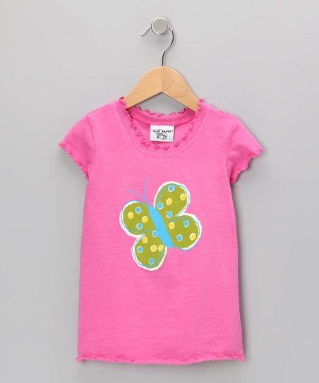 Pink Meadow Butterfly Lettuce-Edge Tee - Infant, Toddler & Girls