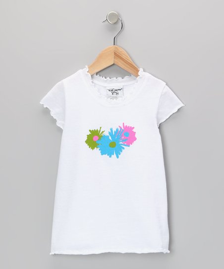 White Pop Art Lettuce-Edge Tee - Infant, Toddler & Girls