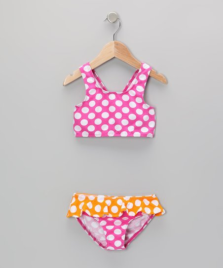 Berry Punch Polka Dot Skirted Bikini Sunsuit- Infant
