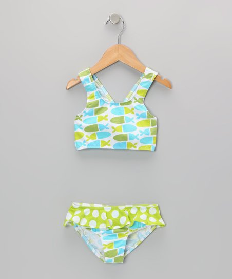 Blue Jellybean Skirted Bikini Sunsuit - Infant, Toddler & Girl