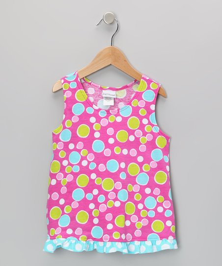 Pink Bubble Dot Ruffle Tank - Infant, Toddler & Girls