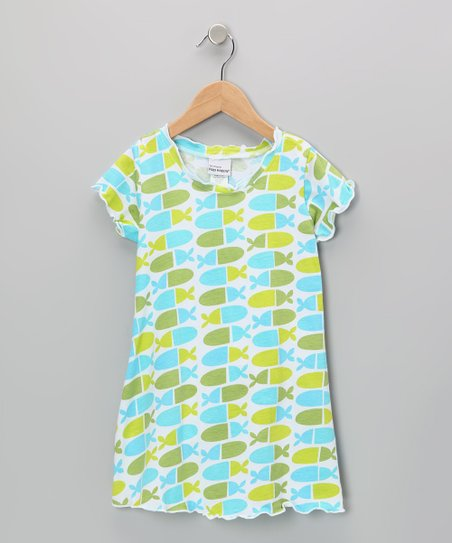 Blue Jellybean Fish Lettuce-Edge Dress - Infant, Toddler & Girls