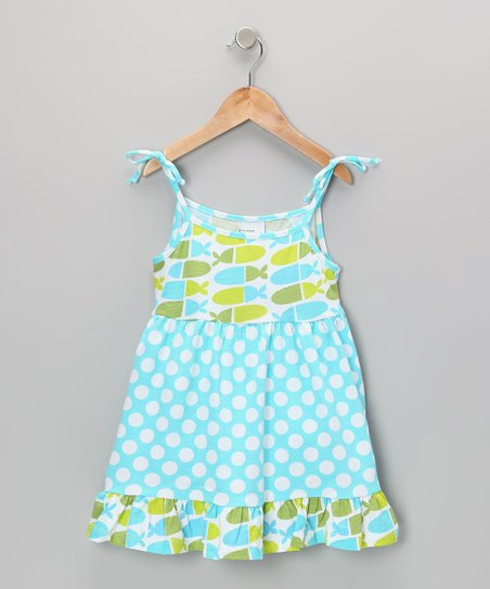 Aqua Punch Polka Dot Ruffle Dress - Infant, Toddler & Girls