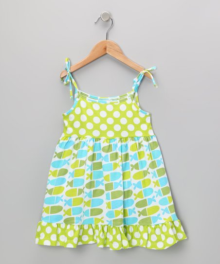 Blue Jellybean Fish Ruffle Dress - Infant, Toddler & Girls