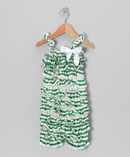 Green Stripe Satin Ruffle Romper - Infant & Toddler