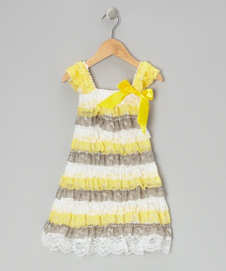 Yellow & Gray Lace Ruffle Dress - Toddler & Girls