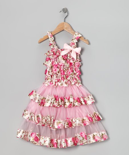 Pink Floral Satin Tiered Ruffle Dress - Toddler & Girls