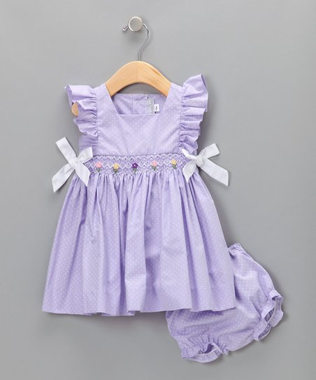 Lavender Polka Dot Dress & Diaper Cover - Infant & Toddler