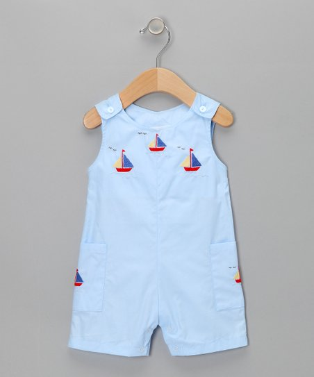 Blue Sailboat Shortalls - Infant
