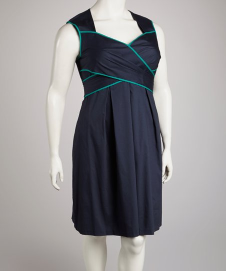 Graphite & Aqua Crisscross Sweetheart Dress - Plus