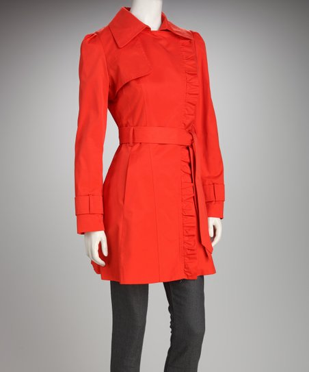 Jessica Simpson Tangerine Ruffle Trench Coat