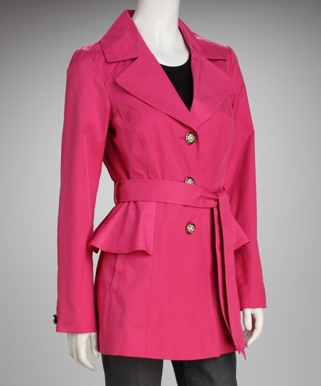 Jessica Simpson Cerise Peplum Trench Coat