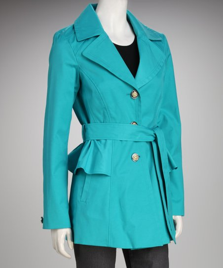 Jessica Simpson Turquoise Peplum Trench Coat