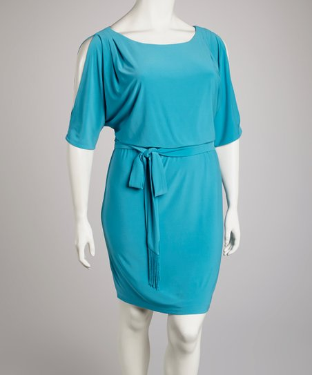 Algiers Blue Split Cape-Sleeve Blouson Dress - Plus
