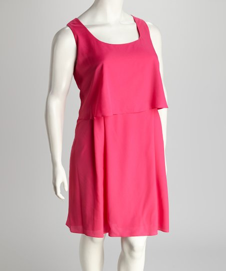 Fuchsia Sleeveless Dress - Plus