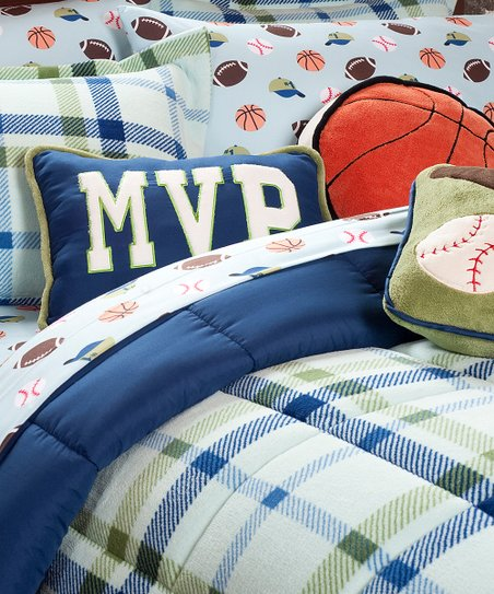 Blue Plaid Serasoft Comforter Set